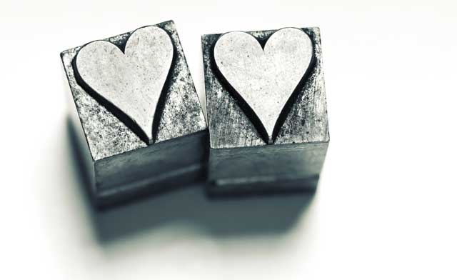 hearts, lead type, moveable type